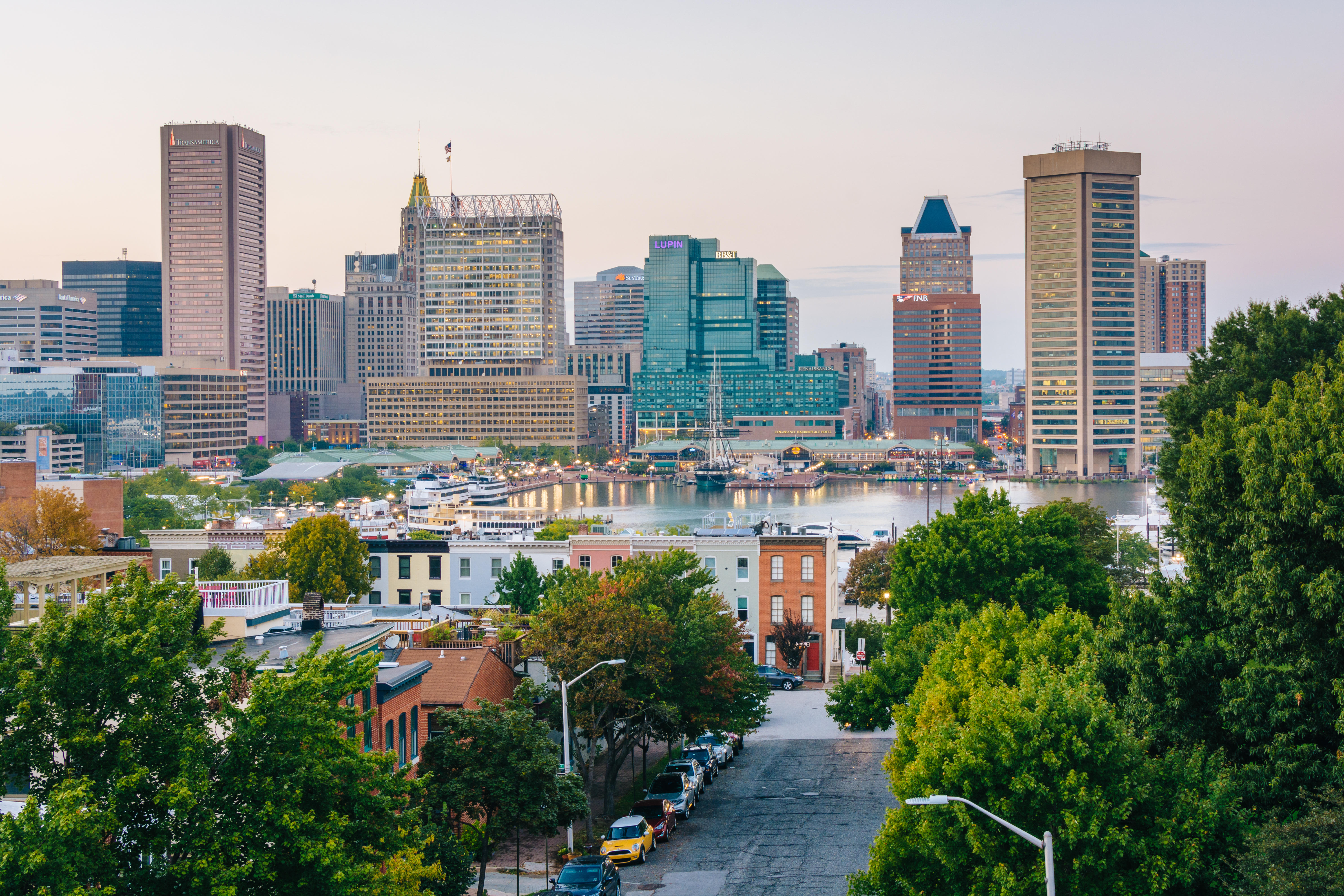 PD24MX A view of Federal Hill & the Inner Harbor, in Baltimore, Maryland.